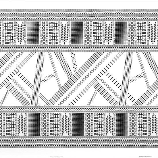 白のハワイアンファブリック オヘカパラ・カヒコ柄 fab-2802WH 【4yまでメール便可】