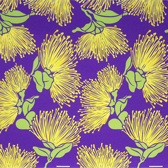 紫のハワイアンファブリック レフア大柄 fab-2803PP 【4yまでメール便可】
