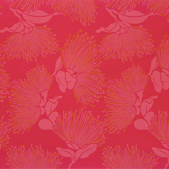 赤のハワイアンファブリック レフア大柄 fab-2803RD 【4yまでメール便可】
