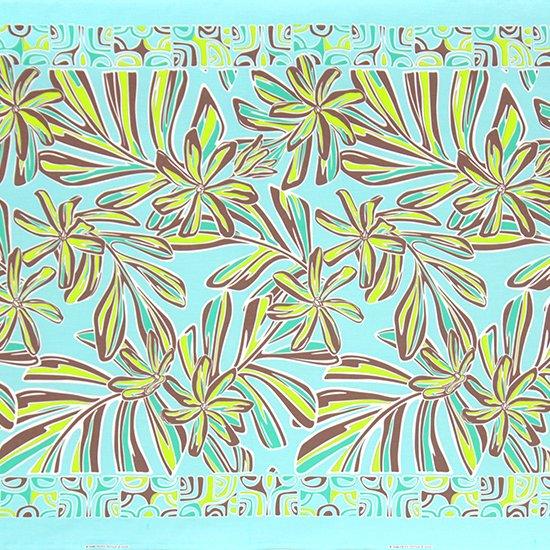水色のハワイアンファブリック ティアレ・リーフ柄 fab-2804AQ 【4yまでメール便可】