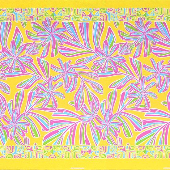 黄色のハワイアンファブリック ティアレ・リーフ柄 fab-2804YW 【4yまでメール便可】