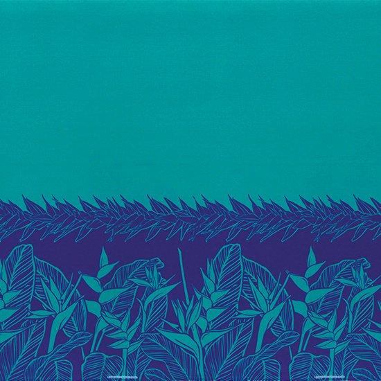 青のハワイアンファブリック ヘリコニア・ティリーフ柄 fab-2805BL 【4yまでメール便可】