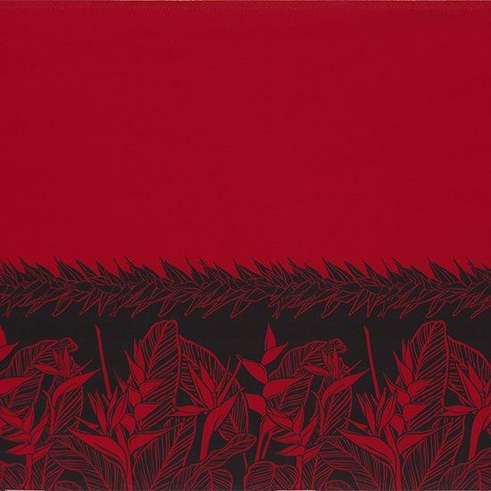 赤のハワイアンファブリック ヘリコニア・ティリーフ柄 fab-2805RD 【4yまでメール便可】