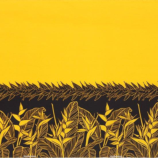 黄色のハワイアンファブリック ヘリコニア・ティリーフ柄 fab-2805YW 【4yまでメール便可】