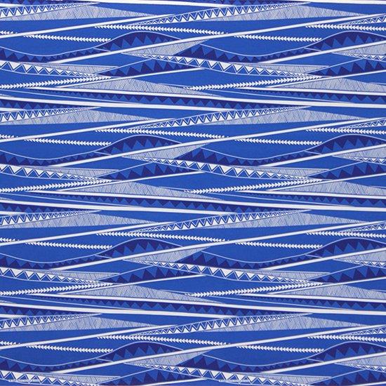 青のハワイアンファブリック カヒコ・ボーダー柄 fab-2807BL 【4yまでメール便可】