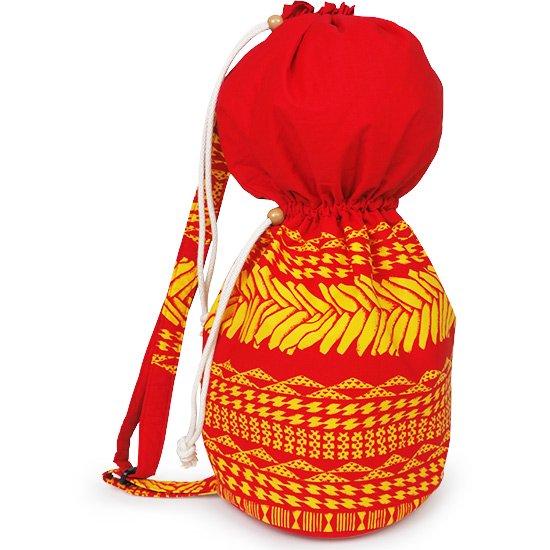 出し入れしやすい 赤のイプヘケケース ロープタイプ タパ・カヒコ・ボーダー柄 Mサイズ inst-ipuhekecase-rope-2724RD-M イプヘケバッグ 【既製品】