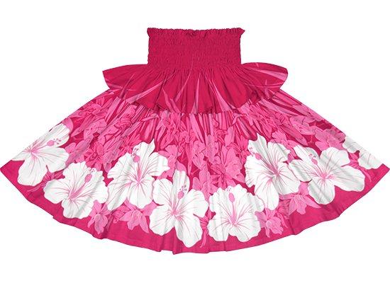 【フリルパウスカート】 ピンクのパウスカート ハイビスカス・オーキッド柄 frpau-2799Pi