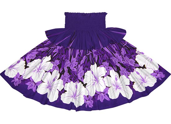 【フリルパウスカート】 紫のパウスカート ハイビスカス・オーキッド柄 frpau-2799PP