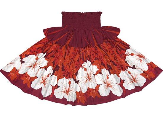 【フリルパウスカート】 赤のパウスカート ハイビスカス・オーキッド柄 frpau-2799RD
