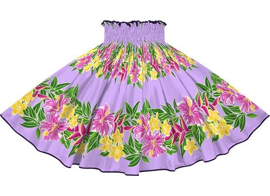 【パイピングパウスカート】 紫のハイビスカス・プルメリア・ボーダー柄 グレープのパイピング  pipau-rm-2790PP 75cm 4本ゴム【既製品】