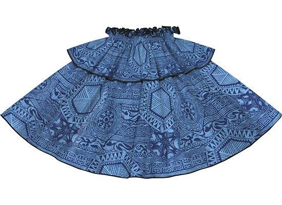 【モーハラパウスカート】 青のカヒコ柄 ブラックのパイピング  mhpau-rm-2795BL 75cm 4本ゴム【既製品】