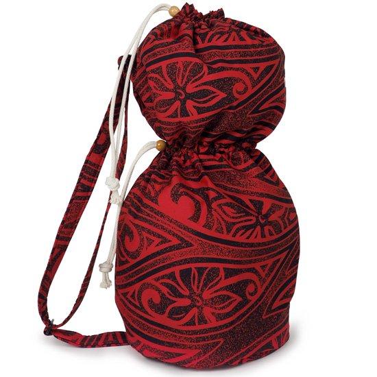 出し入れしやすい 赤のイプヘケケース ロープタイプ ティアレ・タパ柄 Mサイズ inst-ipuhekecase-rope-2687RD-M イプヘケバッグ 【既製品】