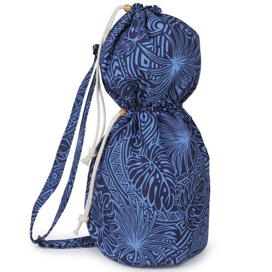 出し入れしやすい 青のイプヘケケース ロープタイプ モンステラ・タパ柄 Mサイズ inst-ipuhekecase-rope-2707BL-M イプヘケバッグ 【既製品】