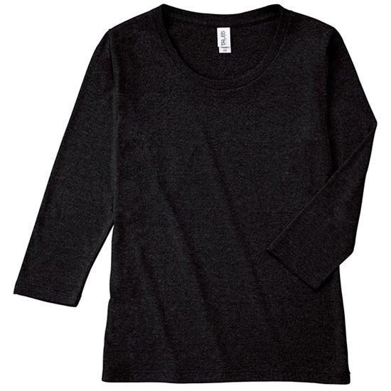 レディース無地 7分袖 Tシャツ 4.4oz US-XSサイズ オフブラック tsht-tbl117-77 【2枚までメール便可】