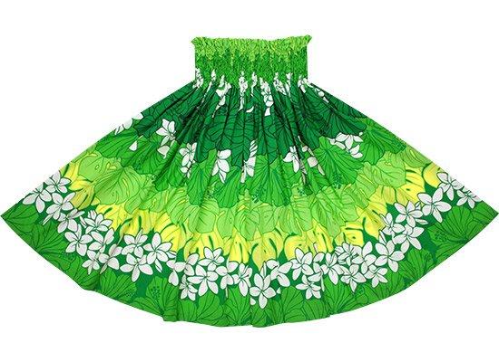 【蔵出し】 緑のパウスカート プルメリア・ハイビスカス・モンステラ柄 spau-2676GN-re