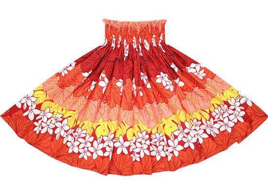 【蔵出し】 赤のパウスカート プルメリア・ハイビスカス・モンステラ柄 spau-2676RD-re
