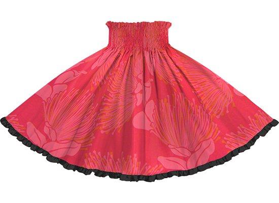 【リヒリヒパウスカート】 赤のレフア大柄 ブラックの無地 lhpau-2803RD