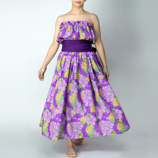 チューブトップ スカート セットアップキャンペーン 紫のハイビスカス柄 hlds-tubetop-set20w-2719PPPP