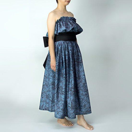 チューブトップ スカート セットアップキャンペーン 青のティリーフ柄 hlds-tubetop-set20w-2764BL