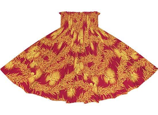 赤のパウスカート レフア・マイレレイ柄 spau-rm-2801RD 75cm 4本ゴム 【既製品】
