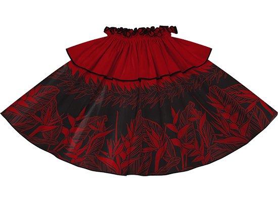 【モーハラパウスカート】 赤のヘリコニア・ティリーフ柄にブラックのパイピング mhpau-2805RD