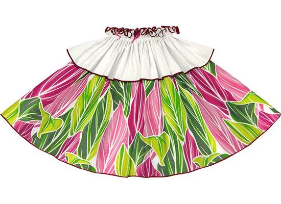 【モーハラパウスカート】 クリーム色のティリーフ柄にガーネットのパイピング mhpau-2808CR
