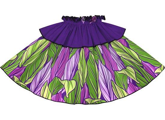 【モーハラパウスカート】 紫のティリーフ柄にブラックのパイピング mhpau-2808PP