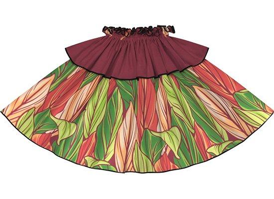 【モーハラパウスカート】 赤のティリーフ柄にブラックのパイピング mhpau-2808RD