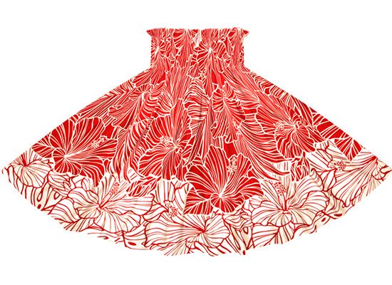 【蔵出し】 赤の赤のパウスカート ハイビスカス・ヤシ柄 spau-2709RD-re