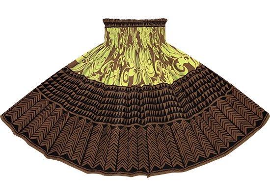 【蔵出し】 茶色のパウスカート モンステラ・プルメリア・タパ柄 spau-2735BR-re