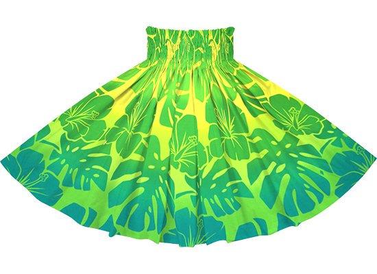 【蔵出し】 緑のパウスカート ハイビスカス・モンステラ・グラデーション柄 spau-2769GN-re