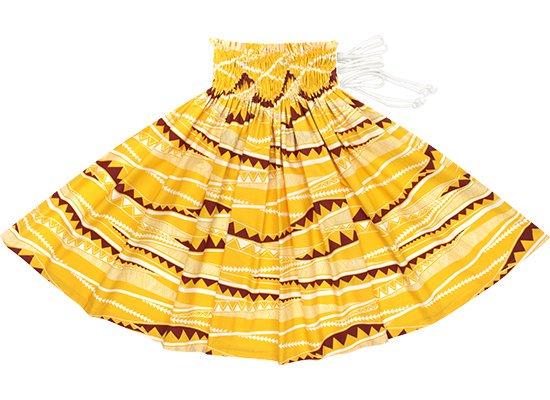 【紐パウスカート】 黄色のカヒコ・ボーダー柄 hmpau-rm-2807YW 75cm 3本紐【既製品】