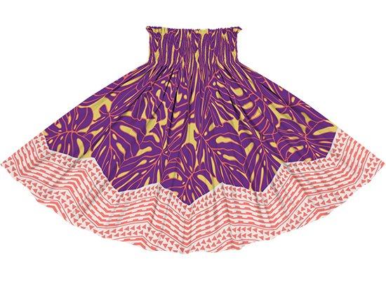 黄色と紫のパウスカート モンステラ・カヒコ柄 spau-2798YWPP