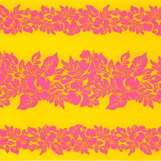 黄色のハワイアンファブリック ハイビスカス・ボーダー柄 fab-2826YWPi 【4yまでメール便可】