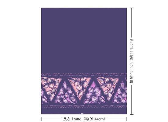 【カット生地】 (1ヤード) 紫のハワイアンファブリック ハイビスカス・タパ・ボーダー柄 fab-1y-2622PP 【4yまでメール便可】