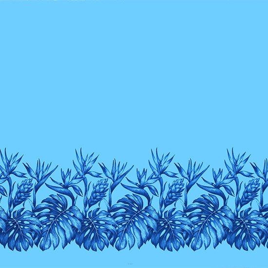 【カット生地】(1.5ヤード) 水色のハワイアンファブリック モンステラ・バードオブパラダイス・レッドジンジャー柄 fab-1.5y-2509AQ 【4yまでメール便可】