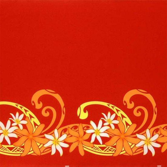 【カット生地】(1.5ヤード) 赤のハワイアンファブリック ティアレ柄 fab-1.5y-2660RD 【4yまでメール便可】