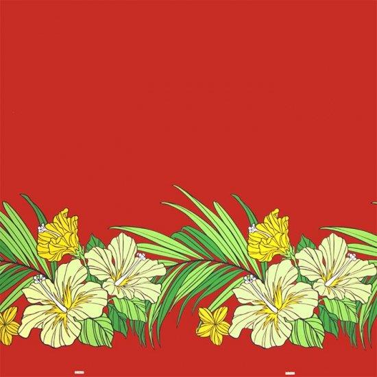 【カット生地】(1.5ヤード) 赤のハワイアンファブリック ハイビスカス・ヤシ柄 fab-1.5y-2698RD 【4yまでメール便可】