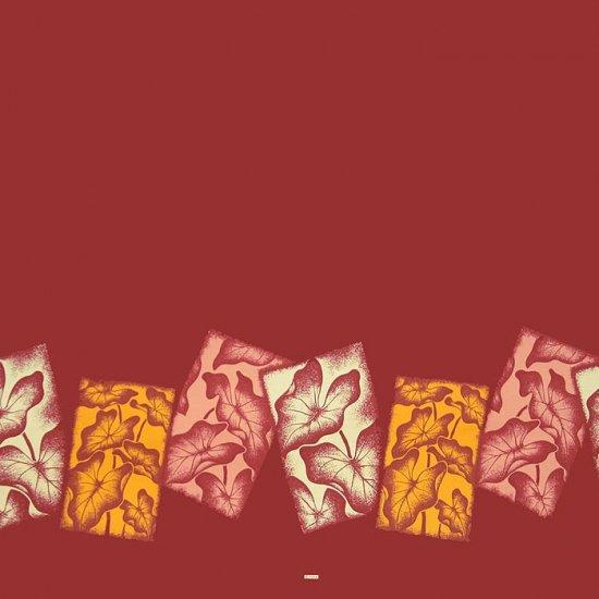 【カット生地】(2ヤード) 赤のハワイアンファブリック タロ柄 fab-2y-2458RD【4yまでメール便可】
