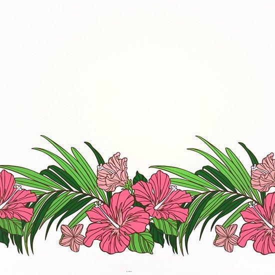 【カット生地】(2ヤード) クリーム色のハワイアンファブリック ハイビスカス・ヤシ柄 fab-2y-2698CR 【4yまでメール便可】