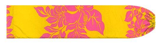 黄色のパウスカートケース ハイビスカス・ボーダー柄 pcase-2826YWPi 【メール便可】★オーダーメイド