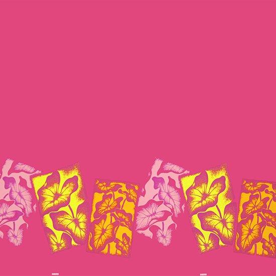 【カット生地】(2.5ヤード) ピンクのハワイアンファブリック タロ柄 fab-2.5y-2458Pi 【4yまでメール便可】