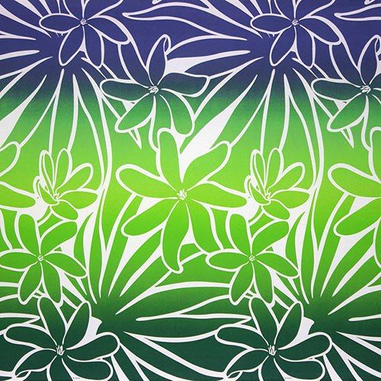 【カット生地】(2.5ヤード) 緑のハワイアンファブリック ティアレ・グラデーション柄 fab-2.5y-2706GN 【4yまでメール便可】