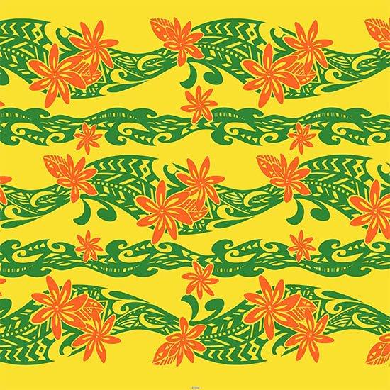 【カット生地】(3ヤード) 黄色のハワイアンファブリック ティアレ・タパ柄 fab-3y-2629YW 【4yまでメール便可】