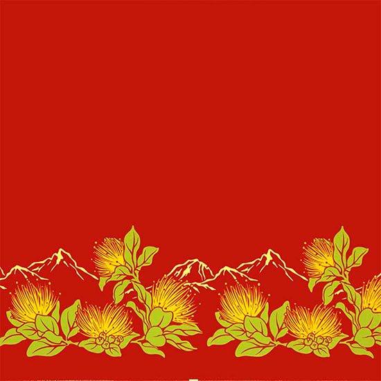 【カット生地】(3ヤード) 赤のハワイアンファブリック レフア・ボルケーノ柄 fab-3y-2664RD 【4yまでメール便可】