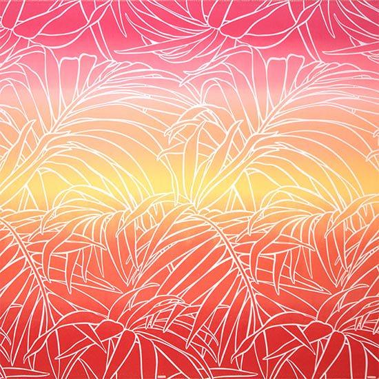 【カット生地】(3ヤード) 赤のハワイアンファブリック ヤシ・グラデーション柄 fab-3y-2703RD 【4yまでメール便可】