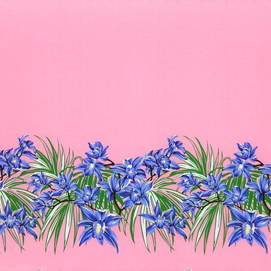 【カット生地】(3.5ヤード) ピンクと青のハワイアンファブリック オーキッド柄 fab-3.5y-2645PiBL 【4yまでメール便可】