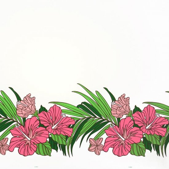 【カット生地】(3.5ヤード) クリーム色のハワイアンファブリック ハイビスカス・ヤシ柄 fab-3.5y-2698CR 【4yまでメール便可】