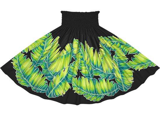 黒のパウスカート バナナリーフ柄 spau-rm-2814BK 75cm 4本ゴム 【既製品】