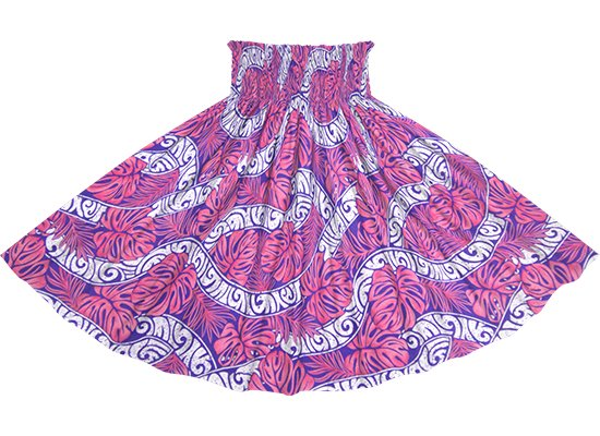 ピンクのパウスカート モンステラ・カヒコ柄 spau-rm-2823Pi 75cm 4本ゴム 【既製品】